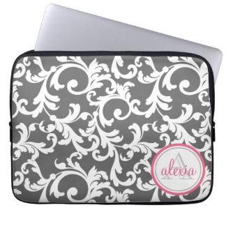 Pink and Gray Monogrammed Damask Print Laptop Sleeve