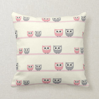 Pink and Gray Owls and Trees MOJO Pillow