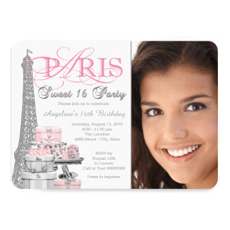 Pink and Gray Paris Sweet 16 Birthday Party 11 Cm X 16 Cm Invitation Card