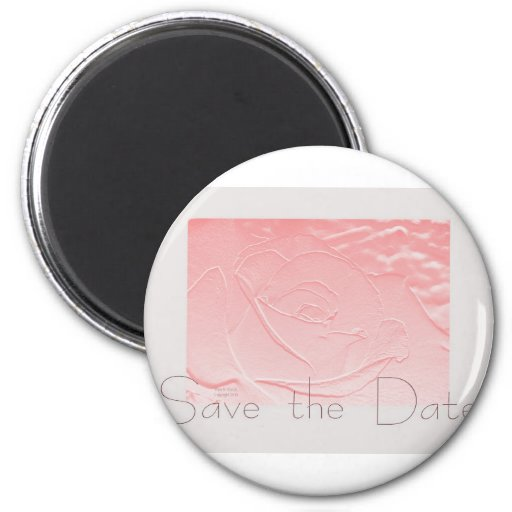 Pink and Gray Rose Save the Date Refrigerator Magnets