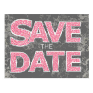 Pink and Gray Save the Date Postcards