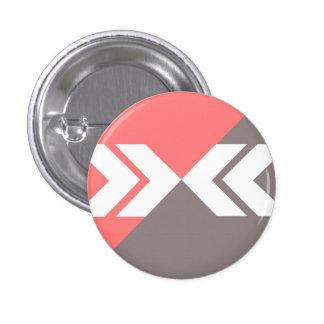 Pink and Gray Slash Arrow, Modern, Sleek 3 Cm Round Badge