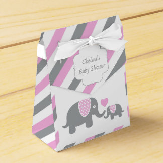 Pink and Gray Stripe Elephant Wedding Favour Box