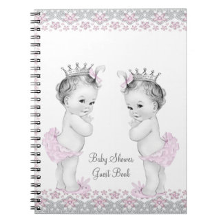 Pink and Gray Twins Baby Shower Guest Book