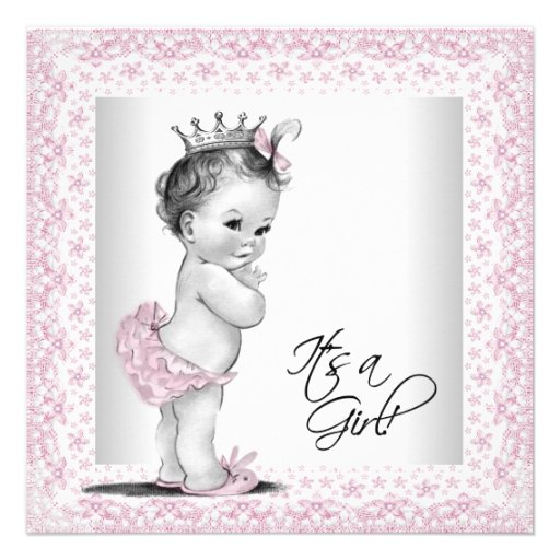 Pink and Gray Vintage Baby Girl Shower Personalized Announcement