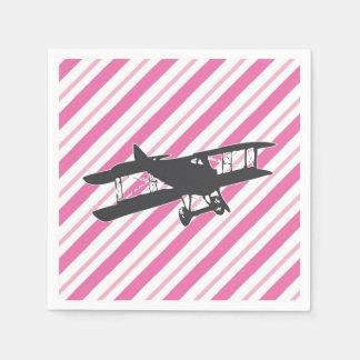 Pink and Gray Vintage Biplane Airplane Napkins Disposable Serviette