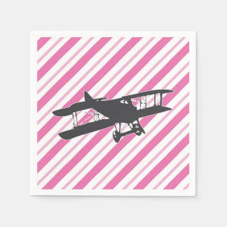 Pink and Gray Vintage Biplane Airplane Napkins Paper Napkins