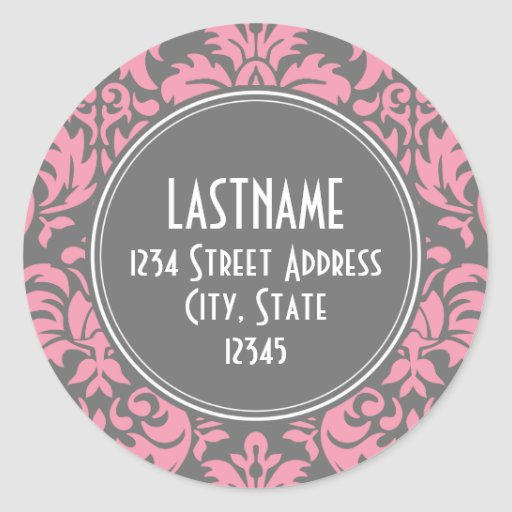 Pink and Gray Vintage Damask Pattern Round Sticker