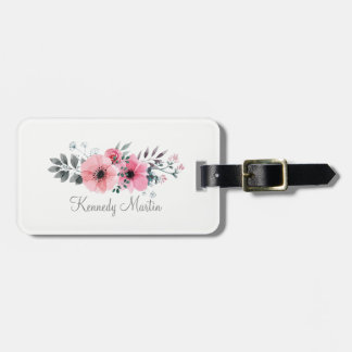 Pink And Gray Watercolor Flowers | Luggage Tag