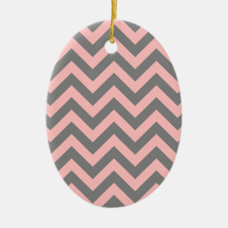 Pink and Gray Zigzag Ceramic Ornament