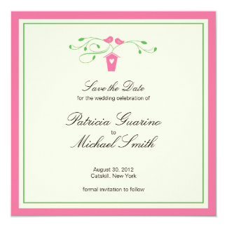 Pink and Greeen Love Birds | Save The Date Card