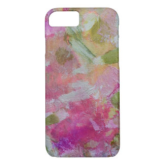 Pink and green abstract art pillow cell case