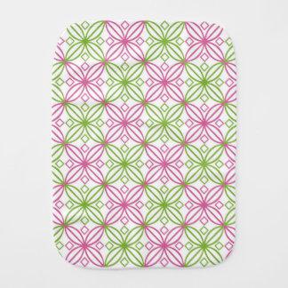 Pink and green abstract circles pattern burp cloth