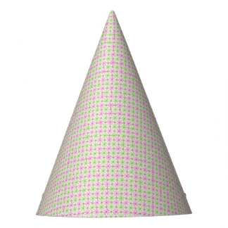 Pink and green abstract circles pattern party hat