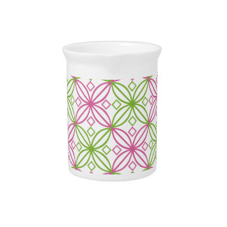 Pink and green abstract circles pattern pitcher