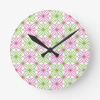 Pink and green abstract circles pattern round clock