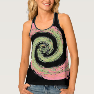 Pink and Green Abstract Swirling Black Singlet