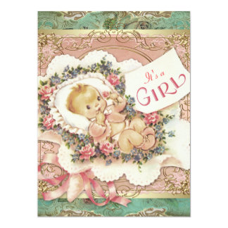 """Pink and Green and Gold Vintage Girl Baby Shower 6.5"""" X 8.75"""" Invitation Card"""