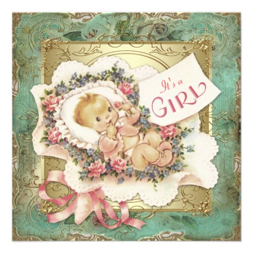 Pink and Green and Gold Vintage Girl Baby Shower Personalized Announcements