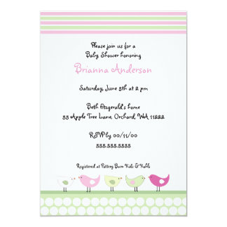 Pink and Green Birds Baby Shower Invitation