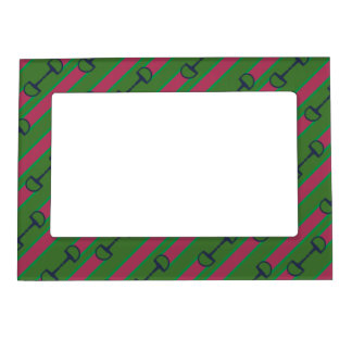 Pink and Green Bit Ribbon Pattern Magnetic Frame