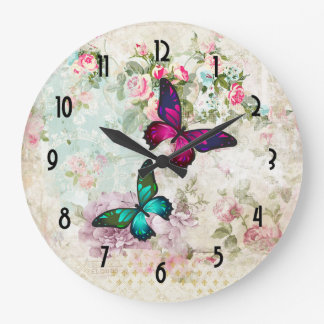 Pink and Green Butterflies on Shabby Vintage Roses Large Clock