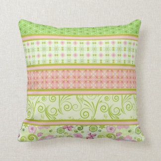 Pink and Green Butterfly Floral Cushion