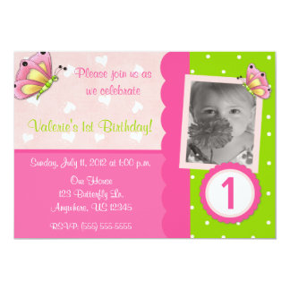 Pink and Green Butterfly Girls Birthday Invitation