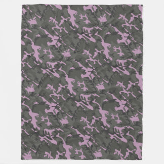 Pink and Green Camo Fleece Blanket