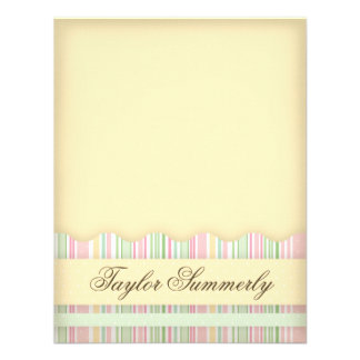 Pink and Green Candy Striped Note Card Custom Invitations