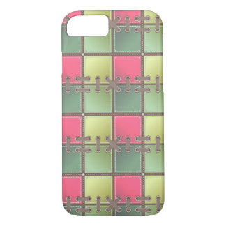 Pink and green checkered Pattern iPhone 7 Case