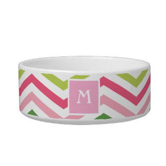Pink and Green Chevron  | Monogram Cat Dish Cat Water Bowls