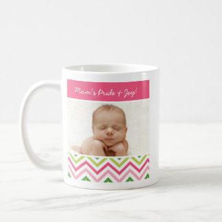 Pink and Green Chevron Photo Mug