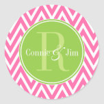 Pink and Green Chevrons Monogram Round Stickers