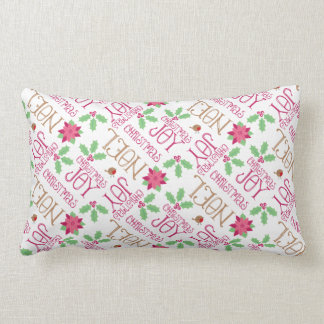 Pink and Green Christmas Greetings and Holly Throw Cushion