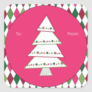 Pink and Green Christmas Tree Harlequin Square Sticker