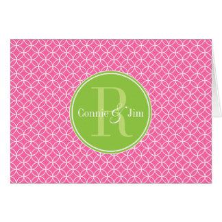 Pink and Green Circles Pattern Monogram Card