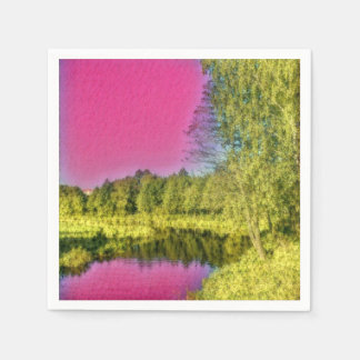 Pink and Green Countryside Landscape Paper Napkin