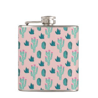 Pink and Green Cute Cactus Pattern Hip Flask