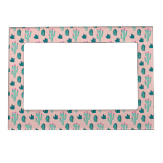 Pink and Green Cute Cactus Pattern Magnetic Frame