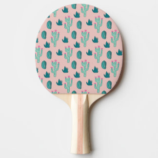 Pink and Green Cute Cactus Pattern Ping Pong Paddle