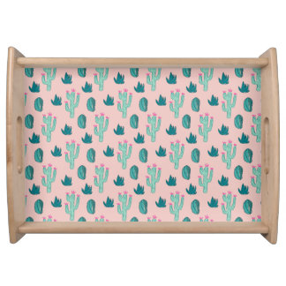 Pink and Green Cute Cactus Pattern Serving Tray