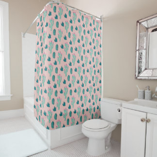 Pink and Green Cute Cactus Pattern Shower Curtain