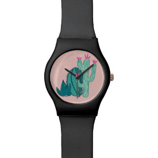Pink and Green Cute Cactus Watch