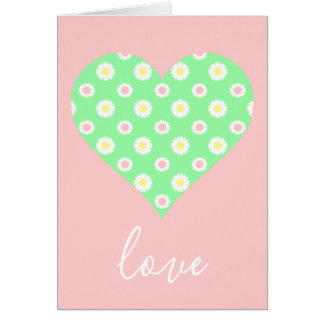 Pink and Green Daisy Heart Love Card