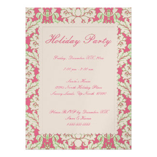 Pink and Green Damask Holiday Party Invite