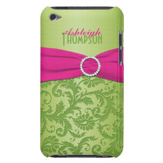 Pink and Green Damask iPod Touch Case