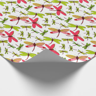 Pink and Green Dragonflies Wrapping Paper