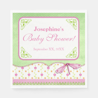Pink and Green Dragonfly Baby Shower Disposable Serviette