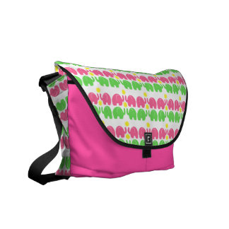 Pink and Green Elephant Pattern Messenger Bags